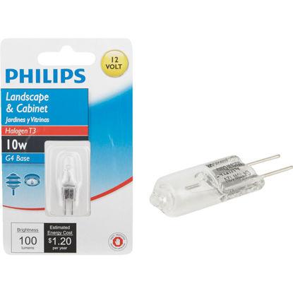 Picture of Philips 10W 12V Clear G4 Base T3 Halogen Landscape & Cabinet Light Bulb
