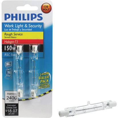 Picture of Philips 150W 130V Clear RSC Base T3 Halogen Rough Service Light Bulb (2-Pack)