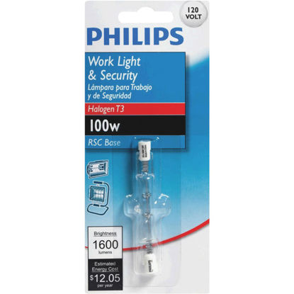 Picture of Philips 100W 120V Clear RSC Base T3 Halogen Work Light Bulb