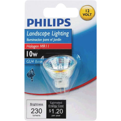 Picture of Philips 10W Equivalent Clear GU4 Base MR11 Halogen Floodlight Light Bulb