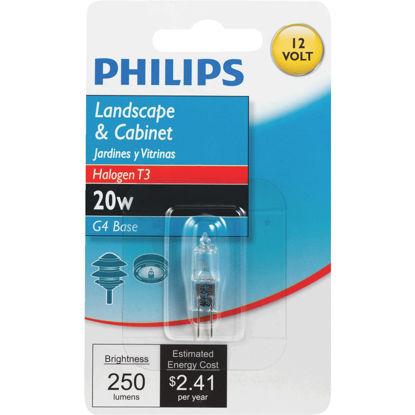 Picture of Philips 20W 12V Clear G4 Base T3 Halogen Landscape & Cabinet Light Bulb