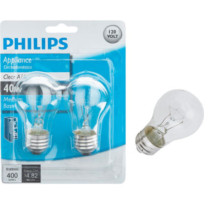 Picture of Philips 40W Clear Medium A15 Incandescent Appliance Light Bulb (2-Pack)