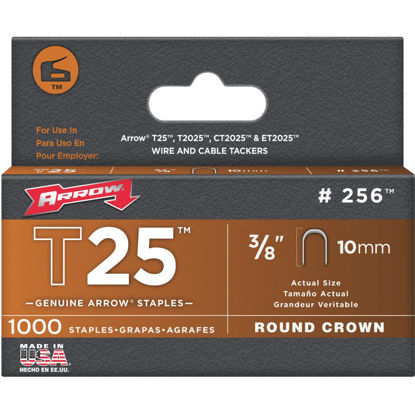 Picture of Arrow T25 Round Crown Cable Staple, 3/8 In. (1000-Pack)