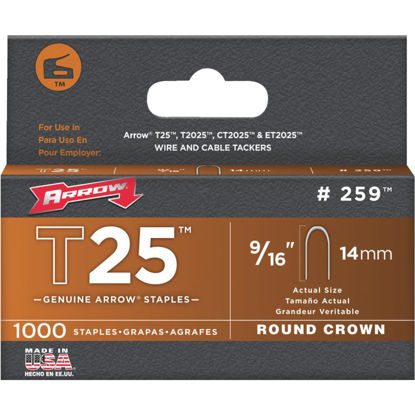 Picture of Arrow T25 Round Crown Cable Staple, 9/16 In. (1000-Pack)