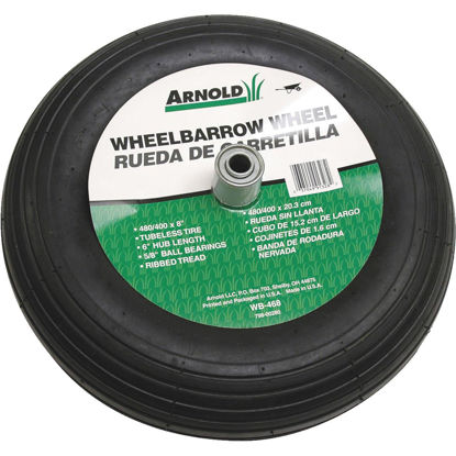 Picture of Arnold 16 x 480/400-8 In. Pneumatic Wheelbarrow Wheel with 6 In. Hub
