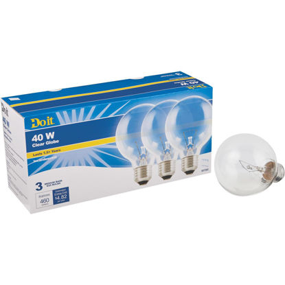 Picture of Do it 40W Clear Medium Base G25 Incandescent Globe Light Bulb (3-Pack)