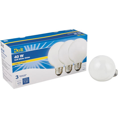 Picture of Do it 40W Frosted Soft White Medium Base G25 Incandescent Globe Light Bulb (3-Pack)