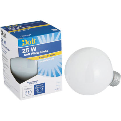 Picture of Do it 25W Frosted Soft White Medium Base G25 Incandescent Globe Light Bulb