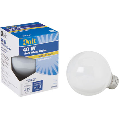 Picture of Do it 40W Frosted Soft White Medium Base G25 Incandescent Globe Light Bulb