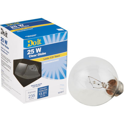 Picture of Do it 25W Clear Medium Base G25 Incandescent Globe Light Bulb