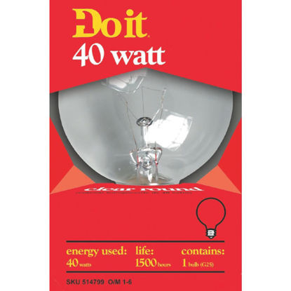 Picture of Do it 40W Clear Medium Base G25 Incandescent Globe Light Bulb