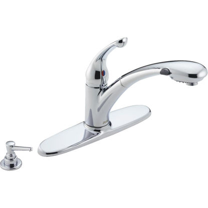 Picture of Delta Signature Single Handle Lever Pull-Out Kitchen Faucet with Soap Dispenser, Chrome
