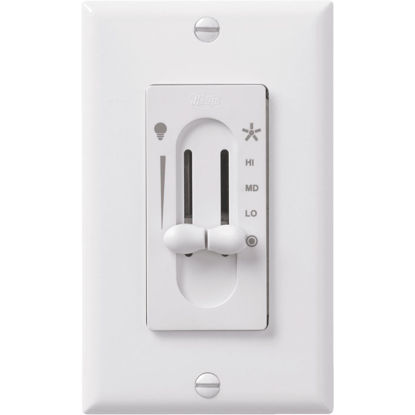 Picture of Hunter White 4-Speed/Full Range Dimmer Dual Slide Fan Control Switch