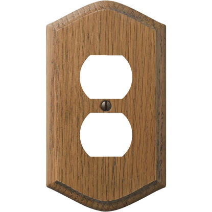 Picture of Amerelle 1-Gang Solid Oak Country Outlet Wall Plate, Medium Oak
