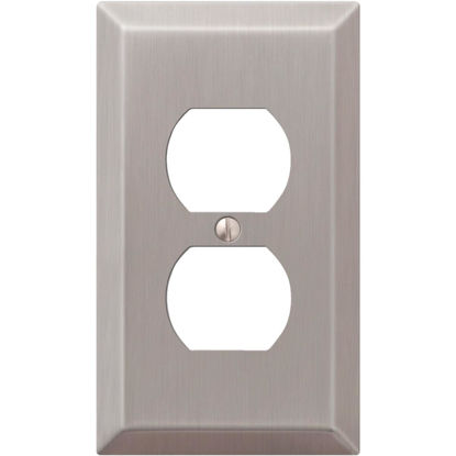 Picture of Amerelle 1-Gang Stamped Steel Outlet Wall Plate, Brushed Nickel