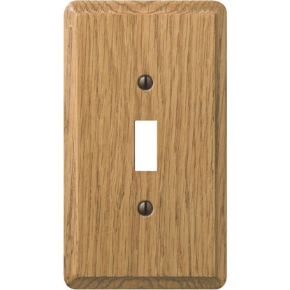 Picture of Amerelle 1-Gang Solid Oak Toggle Switch Wall Plate, Light Oak