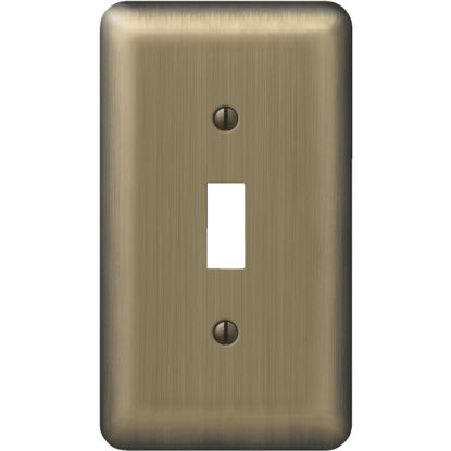 Picture of Amerelle 1-Gang Stamped Steel Toggle Switch Wall Plate, Brushed Brass