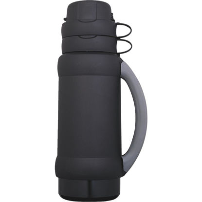 Picture of Thermos Add-A-Cup 35 Oz. Black or Blue Plastic Insulated Vacuum Bottle