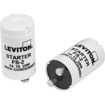 Picture of Leviton 14W/15W/20W 2-Pin T8 Fluorescent Starter (2-Pack)
