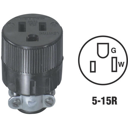 Picture of Leviton 15A 125V 3-Wire 2-Pole Round Cord Connector