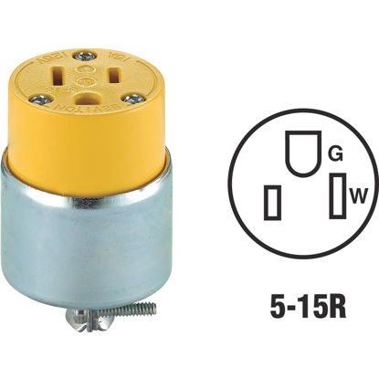 Picture of Leviton 15A 125V 3-Wire 2-Pole Armored Cord Connector