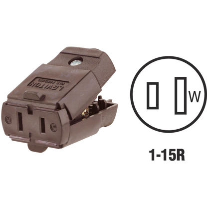Picture of Leviton 15A 125V 2-Wire 2-Pole Hinged Cord Connector, Brown