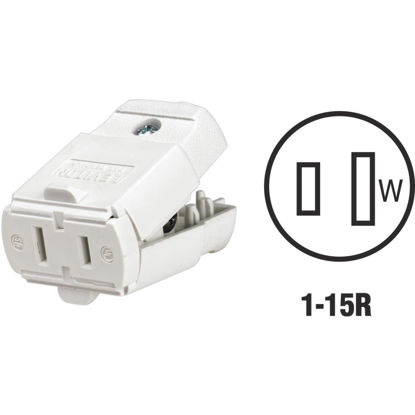 Picture of Leviton 15A 125V 2-Wire 2-Pole Hinged Cord Connector, White