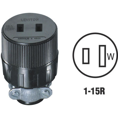 Picture of Leviton 15A 125V 2-Wire 2-Pole Round Cord Connector