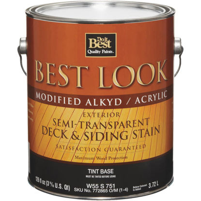 Picture of Best Look Semi-Transparent Deck & Siding Exterior Stain, Tint Base, 1 Gal.