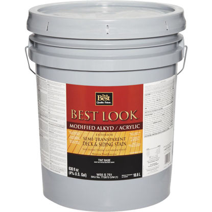 Picture of Best Look Semi-Transparent Deck & Siding Exterior Stain, Tint Base, 5 Gal.