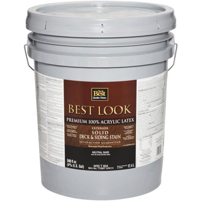 Picture of Best Look Solid Deck & Siding Exterior Stain, Neutral Base, 5 Gal.
