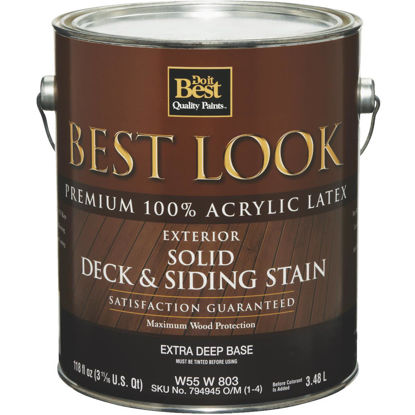 Picture of Best Look Solid Deck & Siding Exterior Stain, Extra Deep Base, 1 Gal.