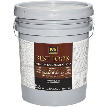 Picture of Best Look Solid Deck & Siding Exterior Stain, White Pastel Base, 5 Gal.