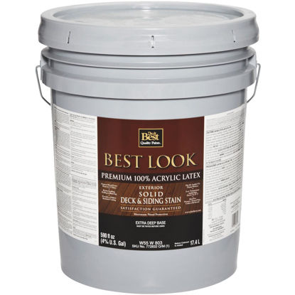 Picture of Best Look Solid Deck & Siding Exterior Stain, Extra Deep Base, 5 Gal.