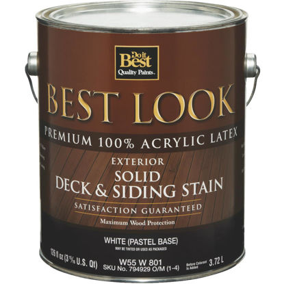 Picture of Best Look Solid Deck & Siding Exterior Stain, White Pastel Base, 1 Gal.