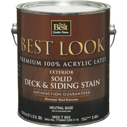 Picture of Best Look Solid Deck & Siding Exterior Stain, Neutral Base, 1 Gal.