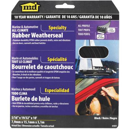 """Picture of M-D 5/16"""" 19/32"""" 10' Auto & Marine Weatherstrip"""