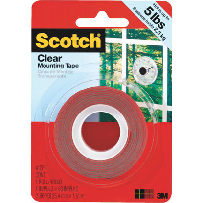 Picture of 3M Scotch 1 In. x 60 In. Clear Double-Sided Mounting Tape (5 Lb. Capacity)