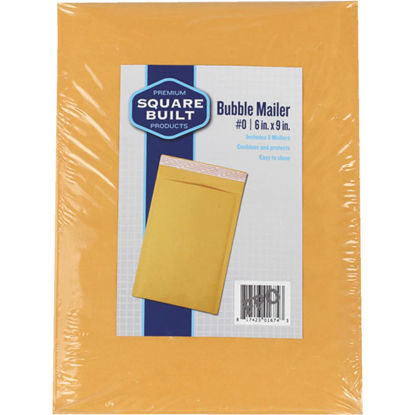 "Picture of Square Built 6""x9"" #0 Bubble Mailer, (5-Pack)"