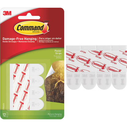 Picture of 3M Command 3.87 In. x 0.23 In. 1 Lb. Capacity Removable Poster Mounting Strips (12-Pack)