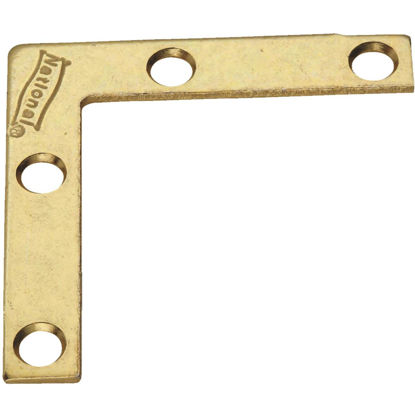 Picture of National Catalog 117 2 In. x 3/8 In. Brass Flat Corner Iron (4-Count)