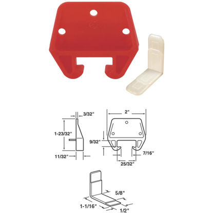 """Picture of SLIDE-CO 1-1/8"""" x 1-3/32"""" Plastic Track Guide"""