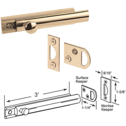 Picture of Defender Security 3 In. Polished Brass Door Surface Bolt