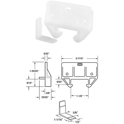 """Picture of SLIDE-CO 1/4"""" x 1-1/16"""" Polyethylene White Track Guide"""