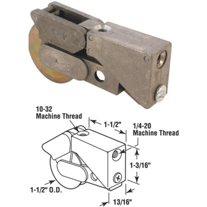 Picture of Slide-Co 1-1/2 In. Dia. x 3/4 In. W. x 1-1/2 In. L. Steel Patio Door Roller with Unique Diecast Housing Assembly