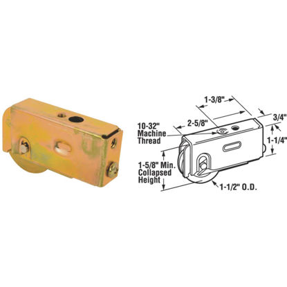 Picture of Slide-Co 1-1/2 In. Dia. x 3/4 In. W. x 2-5/8 In. L. Steel Patio Door Roller with Adjustable Housing Assembly