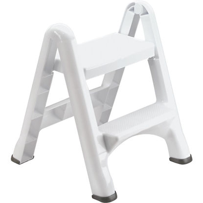 Picture of Rubbermaid White 2-Step Folding Step Stool