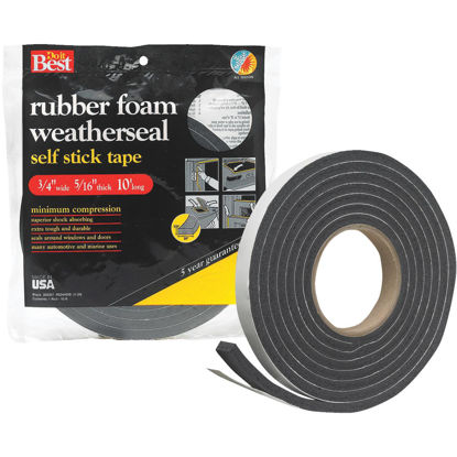 "Picture of Do it Best 3/4"" W x 5/16"" T x 10' L Black Foam Weatherstrip Tape"