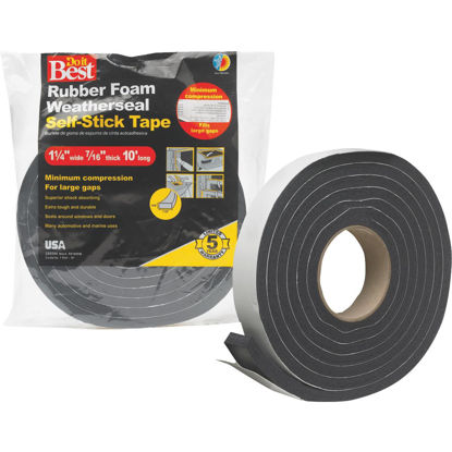 "Picture of Do it Best 1-1/4"" W x 7/16"" T x 10' L Black Foam Weatherstrip Tape"