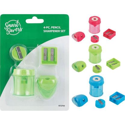 Picture of Smart Savers Manual Pencil Sharpener Set (4-Piece)